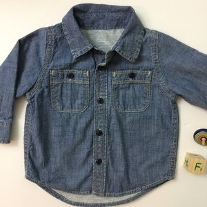 Baby Gap Lined Chambray Denim Style Button Up
